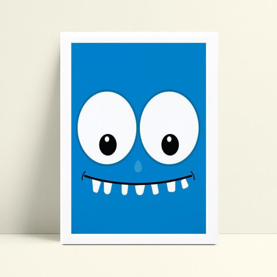 Quadro mdf menina menino rosto monstrinho azul
