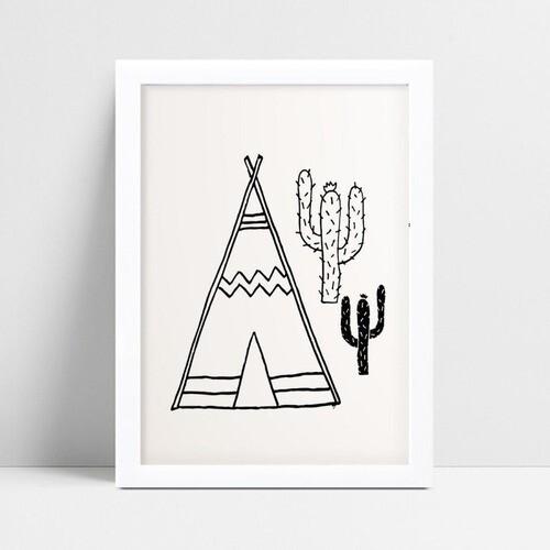 Quadro mdf menina menino tenda de índio e cactos p&b