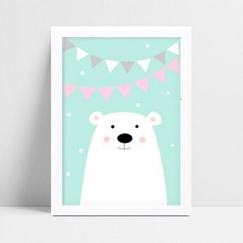 Quadro mdf menina menino urso branco  bandeirinhas rosa