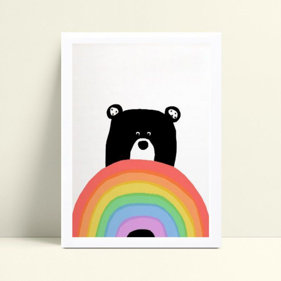 Quadro mdf menina menino urso preto arco-íris