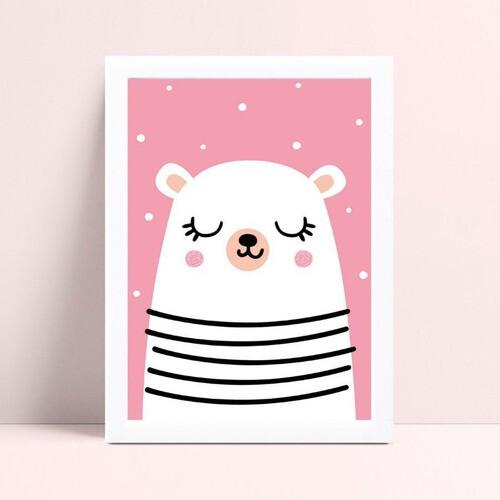 Quadro mdf menina urso branco