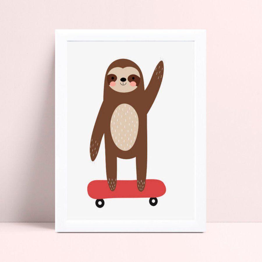 Quadro mdf menino bicho preguiça skate