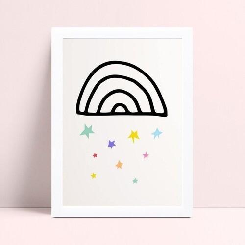 Quadro MDF quadro menina arco-íris preto estrelas colorido