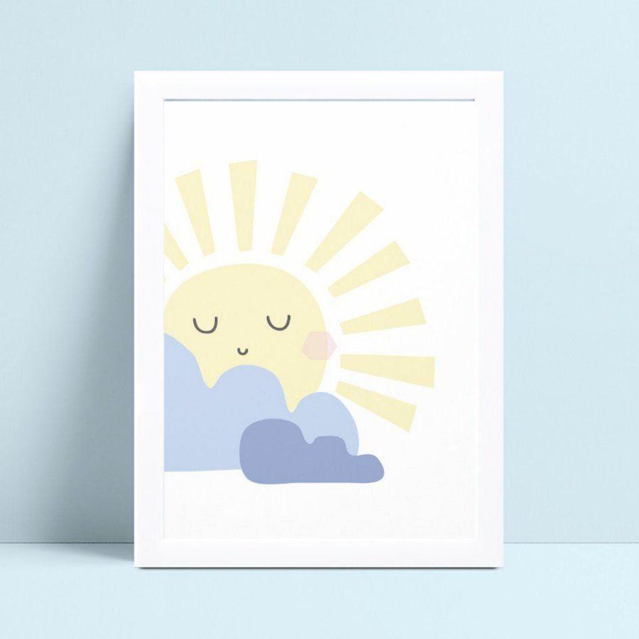 Quadro MDF quadro menino menina sol amarelo grande nuvens