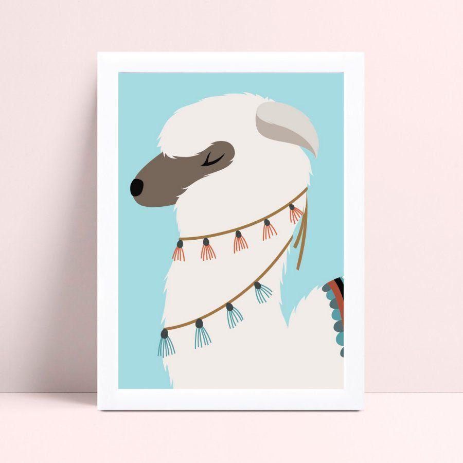 Quadro Poster Infantil animal alpaca