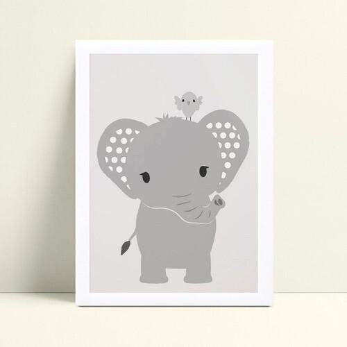 Quadro Poster Infantil animal elefante pássaro cinza