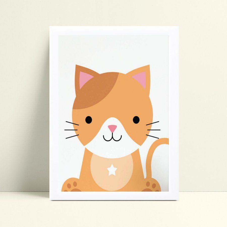 Quadro Poster Infantil animal gato gatinho