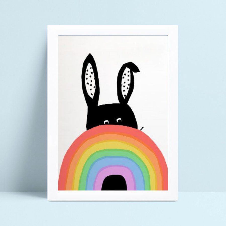 Quadro Poster Infantil arco-íris coelho preto