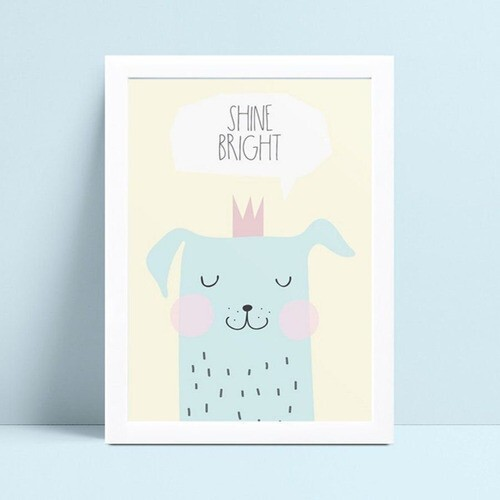 Quadro Poster Infantil cachorro azul coroa rosa