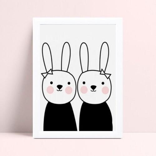 Quadro Poster Infantil casal de coelhos