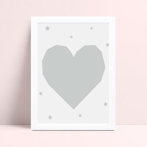 Quadro Poster Infantil coração cinza