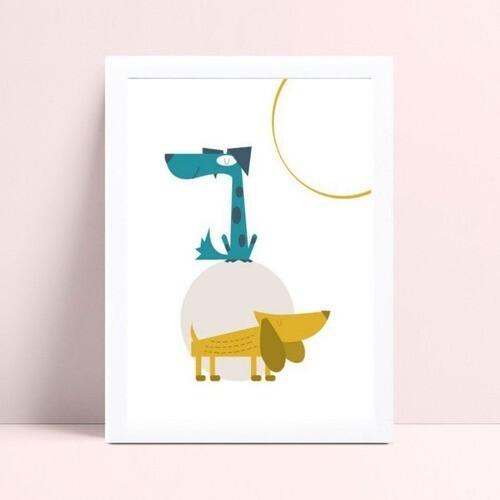 Quadro Poster Infantil desenho cachorros