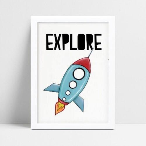 Quadro Poster Infantil desenho foguete azul