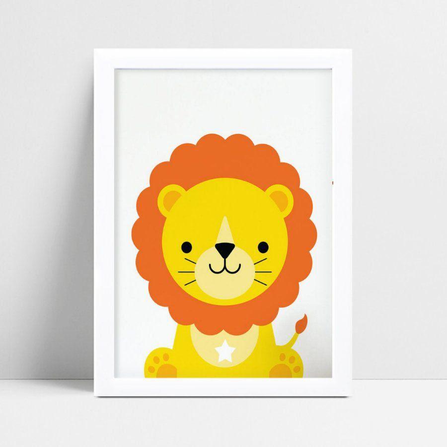 Quadro Poster Infantil desenho leão
