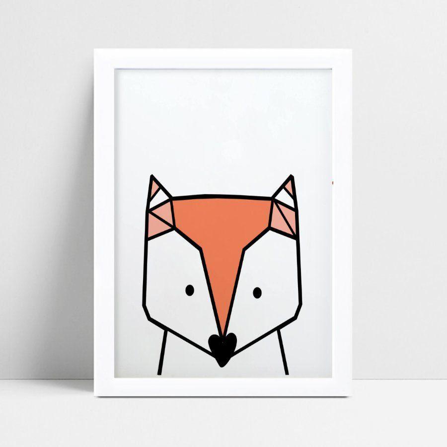 Quadro Poster Infantil desenho raposa geométrico