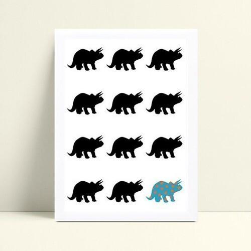 Quadro Poster Infantil dinossauro preto e azul