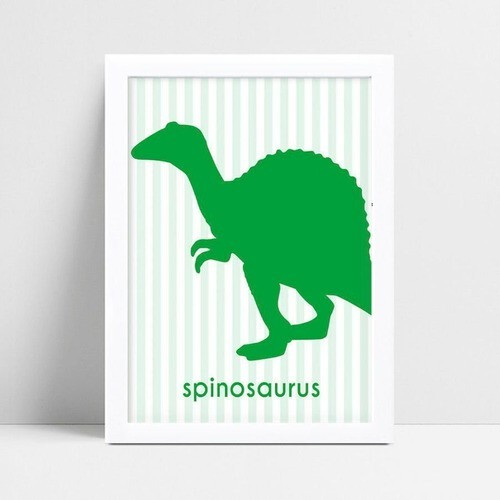 Quadro Poster Infantil dinossauro verde
