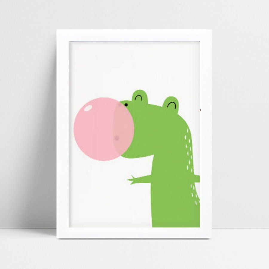 Quadro Poster Infantil dinossauro verde bola chiclete rosa
