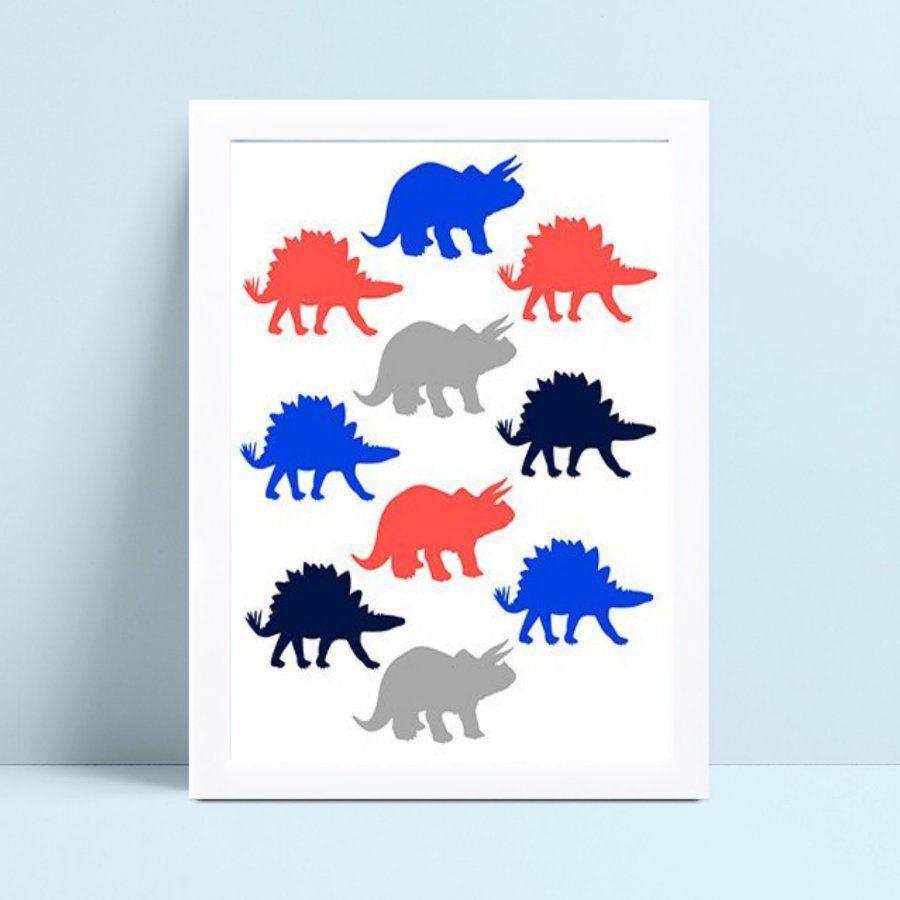 Quadro Poster Infantil dinossauros pequenos coloridos
