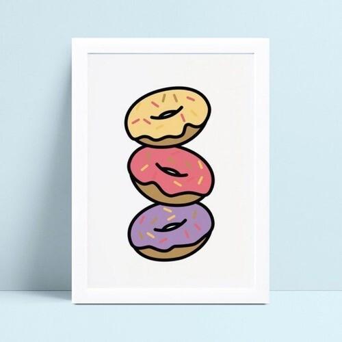 Quadro Poster Infantil donuts coloridos