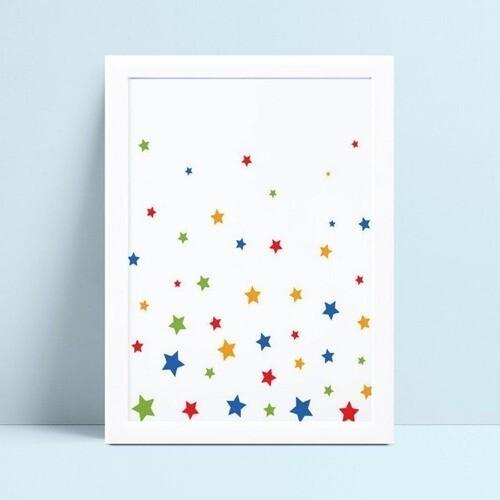 Quadro Poster Infantil estrelas coloridas