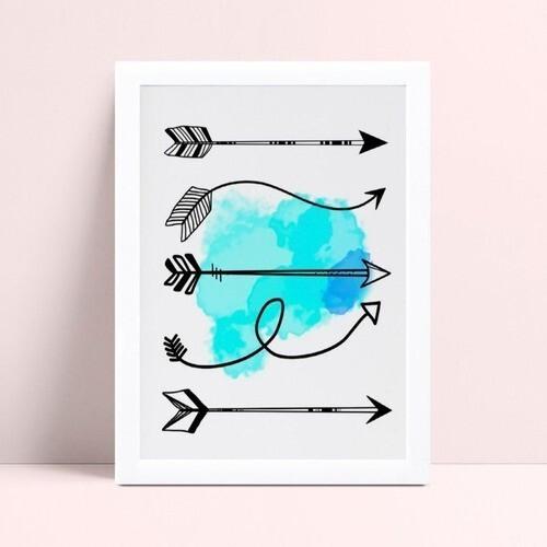 Quadro Poster Infantil flechas setas preto & azul