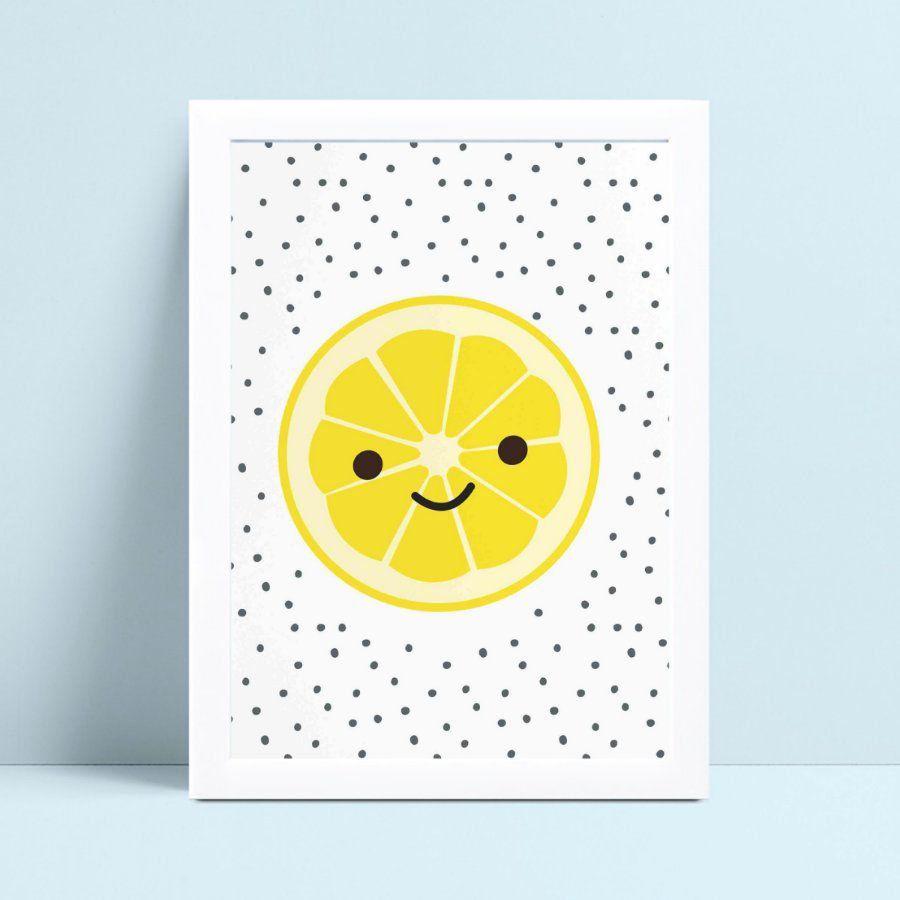 Quadro Poster Infantil fruta limão amarelo