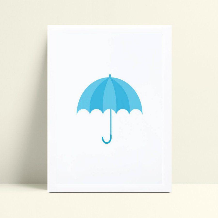 Quadro Poster Infantil guarda chuva azul