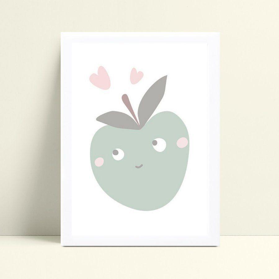 Quadro Poster Infantil macã verde corações rosa