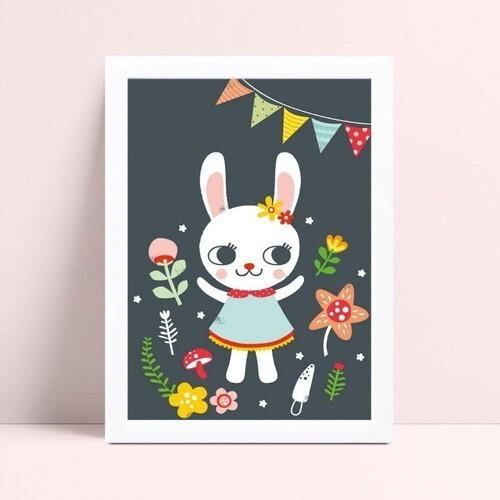 Quadro Poster Infantil menina coelho de vestido