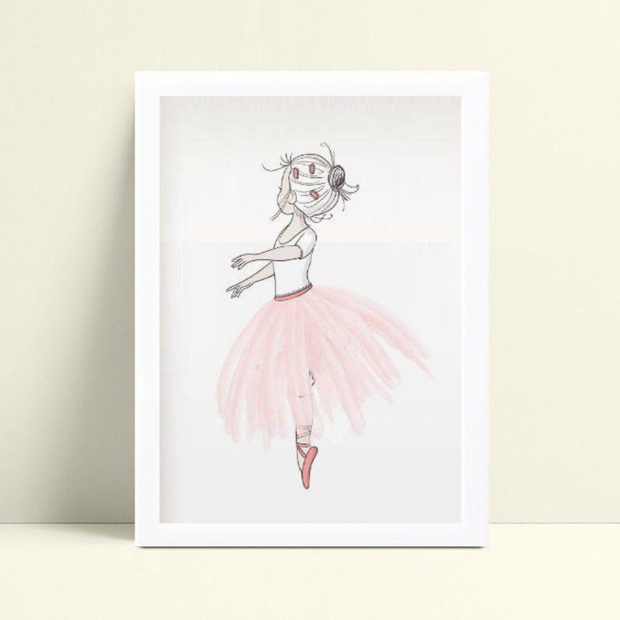 Quadro Poster Infantil menina desenho bailarina