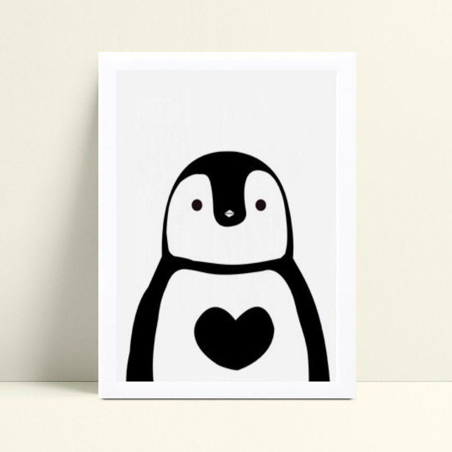 Quadro Poster Infantil menina menino pinguim