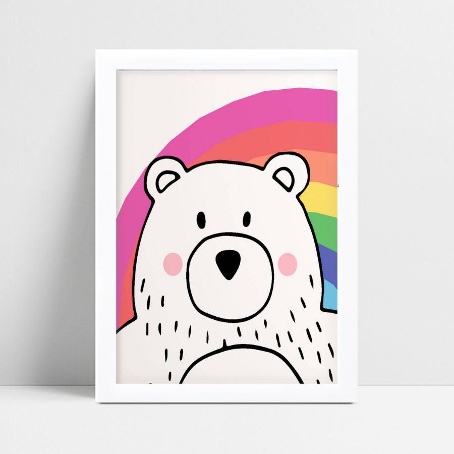 Quadro Poster Infantil menina urso arco-íris