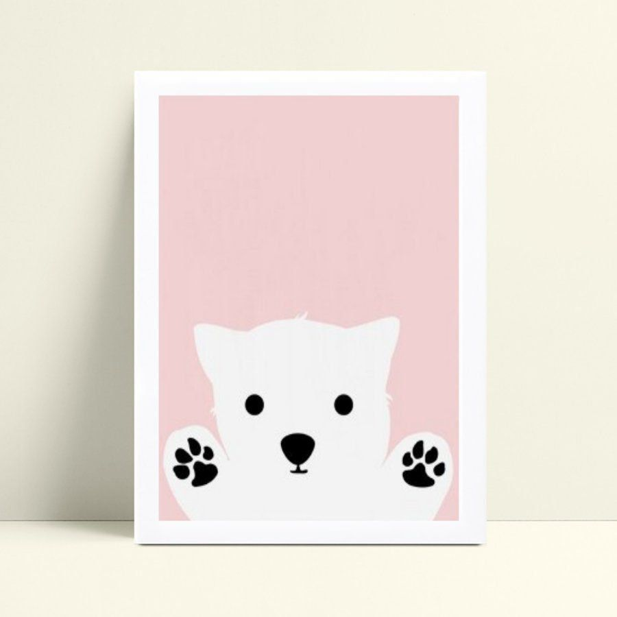 Quadro Poster Infantil menina urso polar zoo