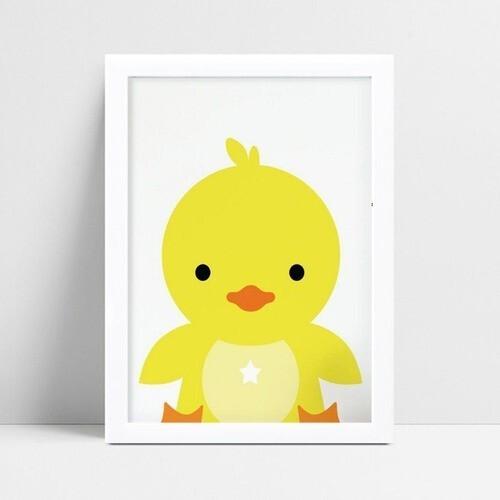Quadro Poster Infantil pintinho amarelo