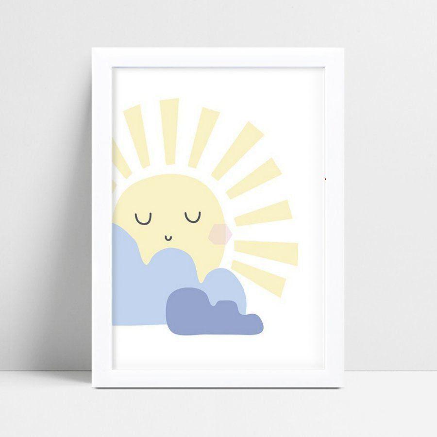 Quadro Poster Infantil sol amarelo grande nuvens azul