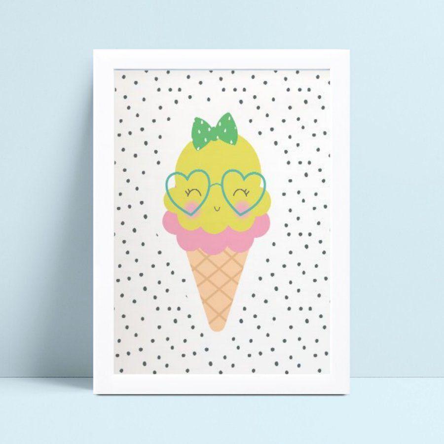 Quadro Poster Infantil sorvete de óculos