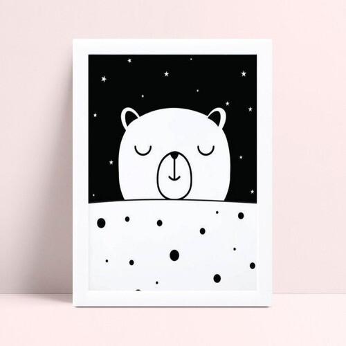 Quadro Poster Infantil urso bolinhas p&b