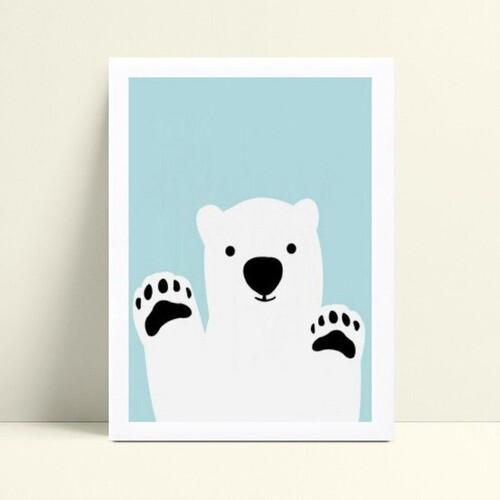 Quadro Poster Infantil urso branco e azul