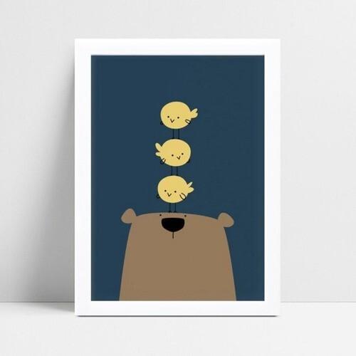 Quadro Poster Infantil urso marrom pássaros