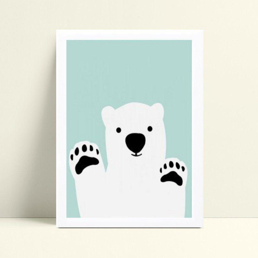 Quadro Poster Infantil urso polar branco e azul