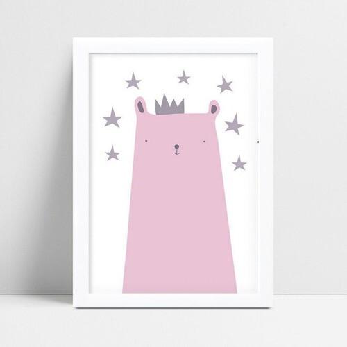Quadro Poster Infantil urso rosa estrelas lilás
