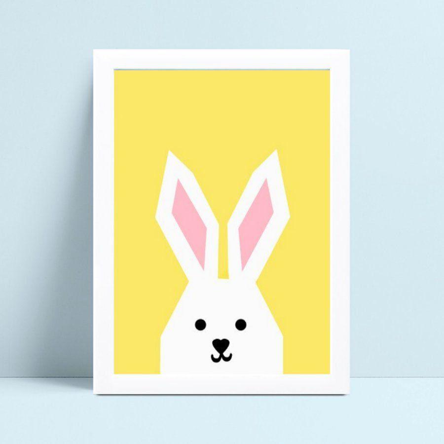 Quadro Poster Infantil zoo coelho branco e amarelo