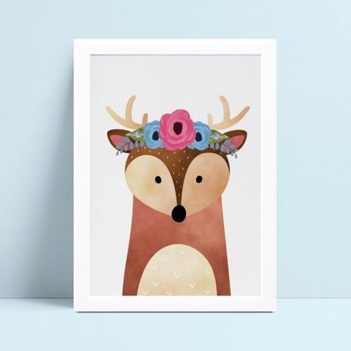 Quadro quadro decoração animal veado floresta flores