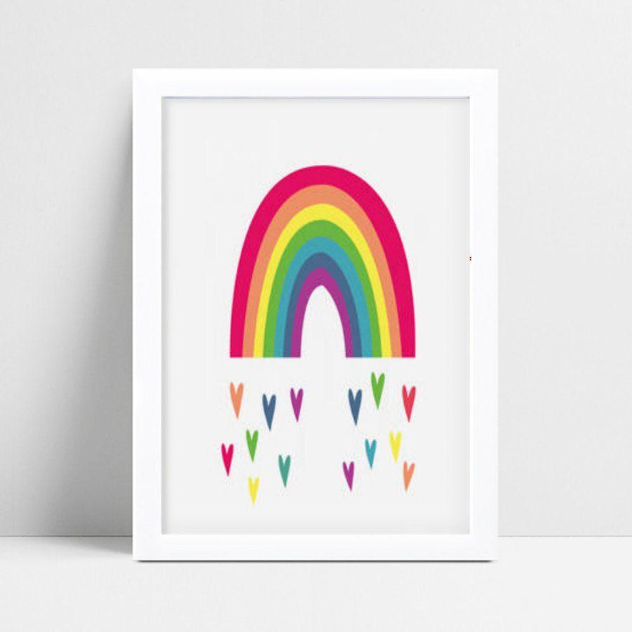 Quadro quadro decoração arco-íris corações coloridos