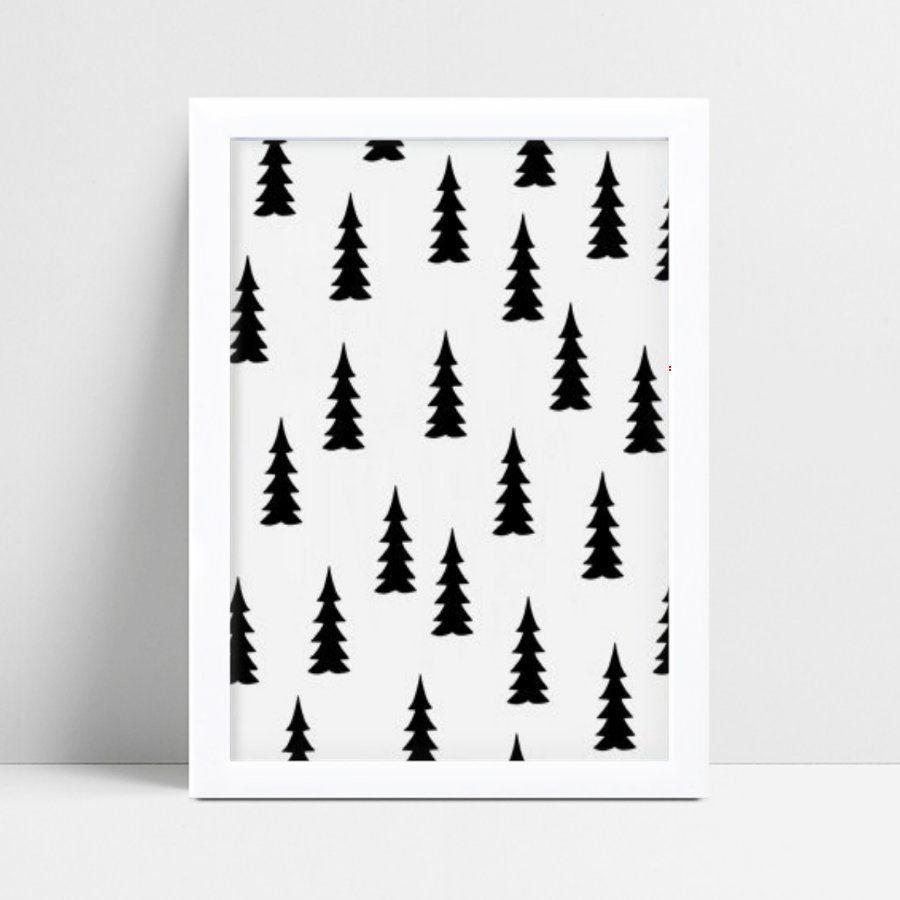 Quadro quadro decoração árvores pinheiros preto