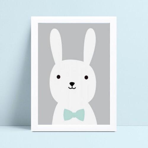 Quadro quadro decoração bebê coelho de gravata borboleta