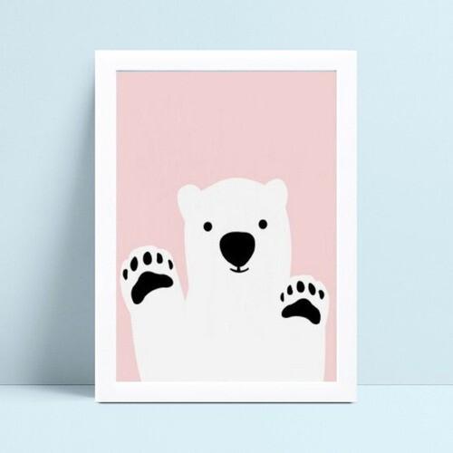 Quadro Quadro Decoração Bebê urso polar branco e rosa