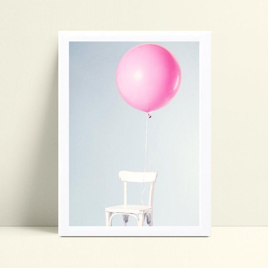 Quadro quadro decoração cadeira bexiga rosa