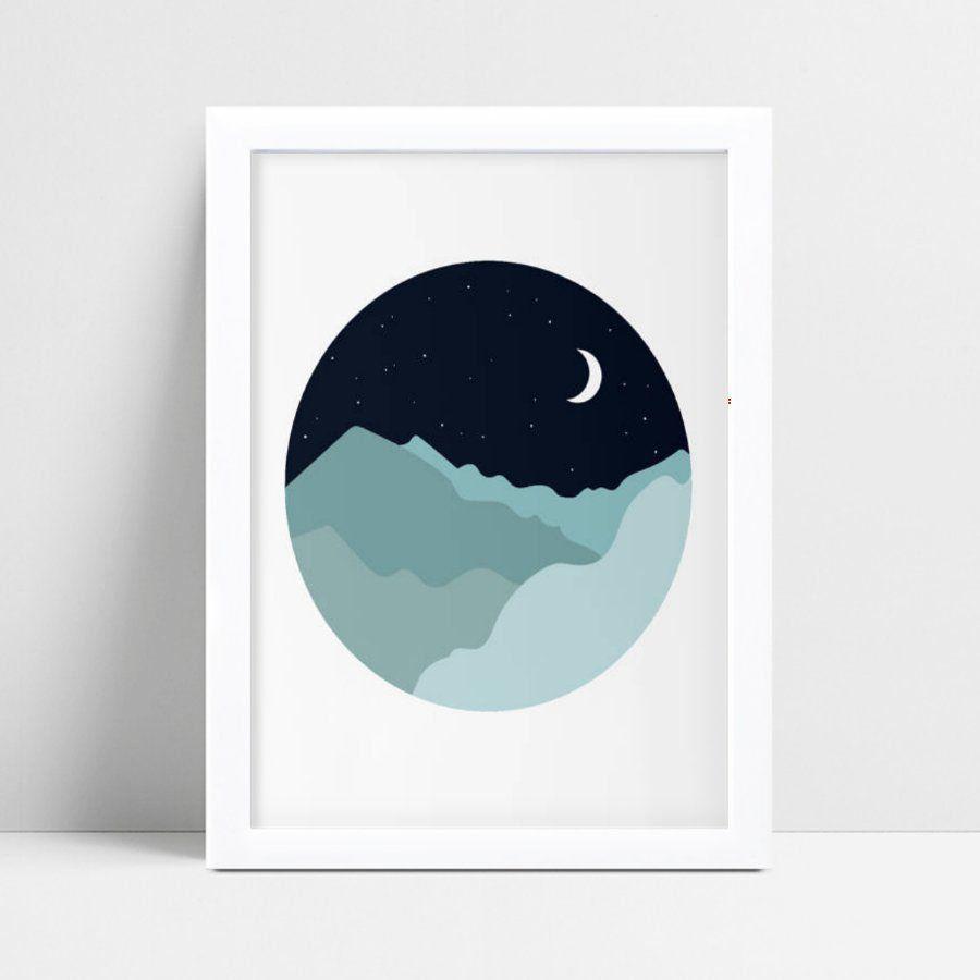 Quadro quadro decoração céu estrelado montanhas